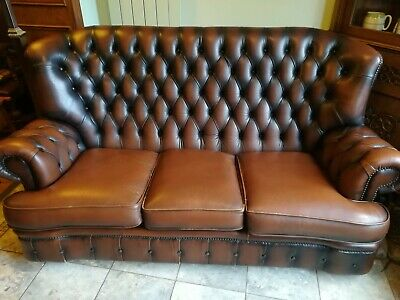 Brown Leather Chesterfield Wingback Monks Sofa 3 Seater pick up only.