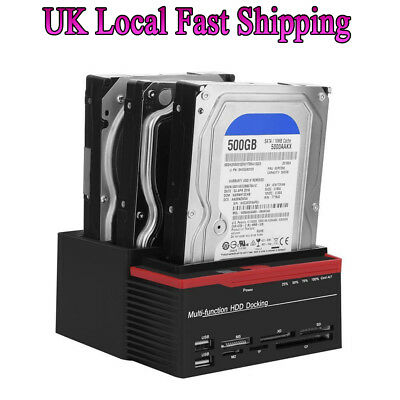 "2.5/3.5"" 3-Bay USB 3.0 SATA/IDE HDD Dock Station Clone HUB Card Reader + Adapter"