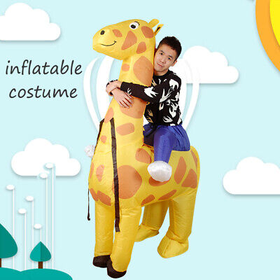Adult Inflatable Costume Fancy Giraffe Dress Animal Ride Carry Costume Blow Up