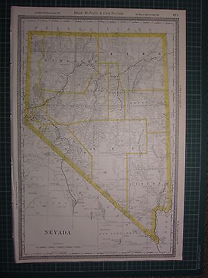 1890 Large Map Nevada State County Railroad ~ Excellent Condition Rand Mcnally