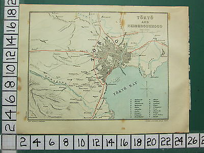 1901 Japan Japanese Tourist Map ~ Tokyo & Neighbourhood ~ Bay Imperial Temple