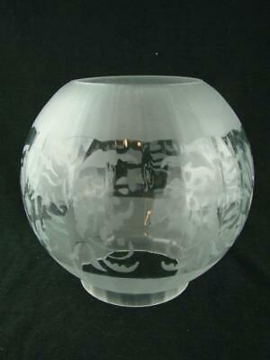 Antique Foliate Etched, Internally Ribbed, Glass Globe Duplex Oil Lamp Shade