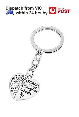 Mother & Daughter Forever Friend Family Mum Heart Charm Keychain Keyring Gift
