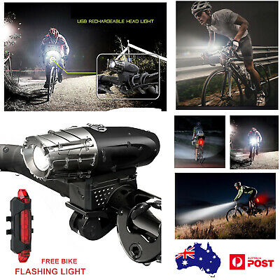 AU Rechargeable Bike Bicycle LED Light USB Waterproof Cycle Front Back Headlight