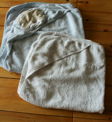 2 hooded baby towels, Very good clean condition, 1 pale blue teddy & 1 white