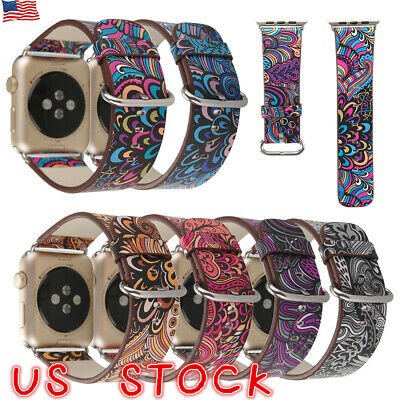 Women Lady Floral Leather Band for Apple Watch 38mm 42mm Flowers Wristband Strap