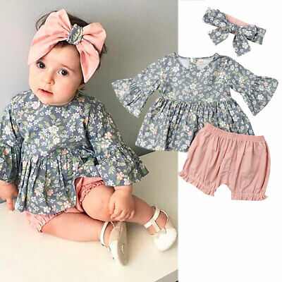 AU Infant Baby Girl Flower Bell Sleeve Tops Shorts Pants Headband Outfit Clothes
