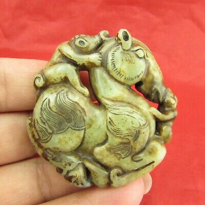 Chinese old jade hand carving Exquisite horse back monkey jade pendant D1053