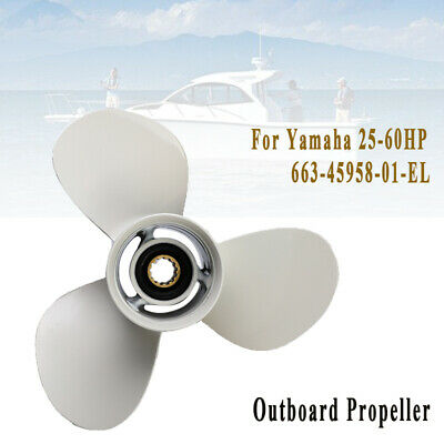Outboard Propeller For Yamaha 25-60HP 663-45958-01-EL Aluminum White 3 Blades
