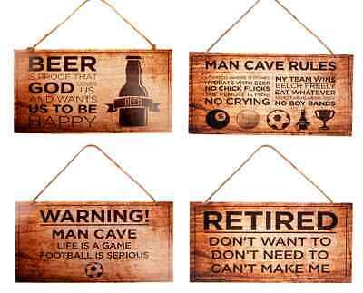 Man Cave Signs X 12, - Just £1.03, 4 Styles X 3 On Wood With Hanger  ( Dg10