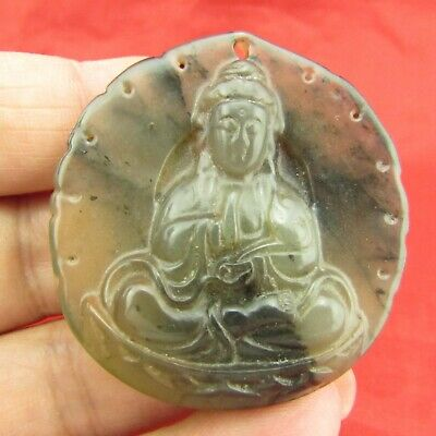 Chinese old jade hand carving Exquisite Buddha jade pendant D1129