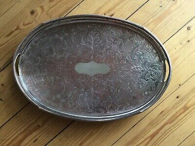 Antique Sheffield  Approx 18ins X 12 Ins Silver On Copper  Chased Gallery Tray