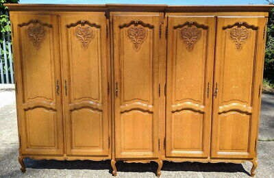 Louis XV Style Vintage French Carved 5 door oak Armoire Wardrobe