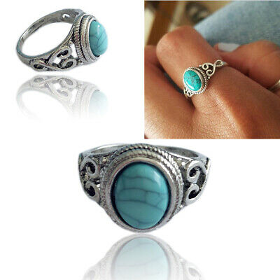 New Turquoise Ring Silver Ladies Turquoise Oval Ring Gemstone Ideal Gift #6-10