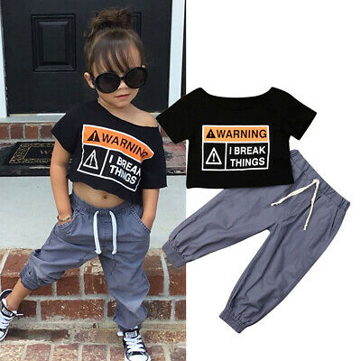 2pcs Toddler Kid Baby Girl T-shirt Oversized Crop Tops Long Pants Clothes Outfit