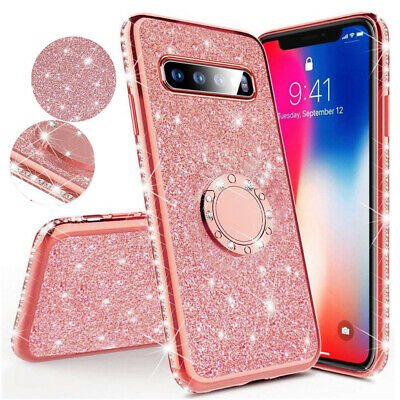 For Samsung Galaxy A50 A30 A7 J6+ Bling Silicone Case Magnetic Ring Holder Cover
