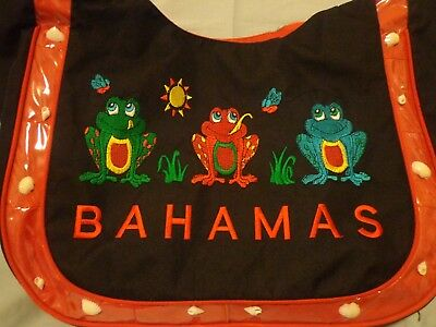 """""""Bahamas"""" Large Multi Colored Canvas Bag/Embroidered Frogs/Beach Shell Accents"""