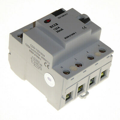 125 Amp 30mA RCCB breaker 4 Pole Circuit Protection Lewden 125/30/4