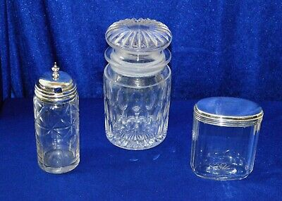 Antique Victorian Cut Glass Containers X 3