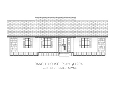 Ranch House Plans 1392 SF 3 Bed 2 Bath Open Floor - Split Bedrooms (Blueprints)