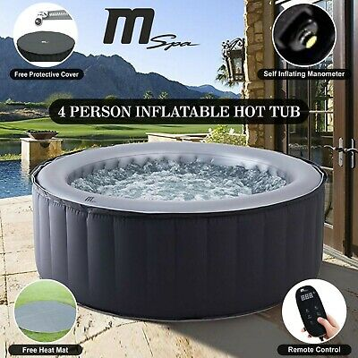 Heated Jacuzzi Spa Hot Tub Outdoor Garden Self Inflating Mspa 4 Seater Person