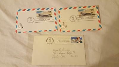 3 Vintage Us Air Mail 1St Issue Postage Stamps 1988 Mailed Evelopes/Postcard 1 S