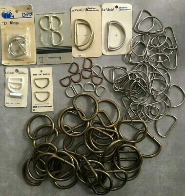 Vintage lot of D-Rings for BELT BUCKLES / Crafts BRASS Dritz La Mode + NOS