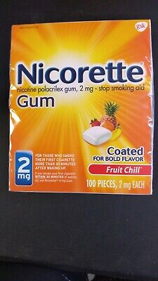 New Nicorette Coated Nicotine Gum 2mg Fruit Chill 100 Pieces Exp 11/2021