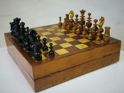 ANTIQUE FRENCH  CHESS SET K 67 mm AND CHESS BACKGAMMON AND CHECKERS GERMAN BOARD