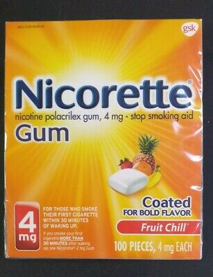 Nicorette Nicotine Gum 4 MG Fruit Chill 100 Pieces Exp 10/21+ New Coated Bold