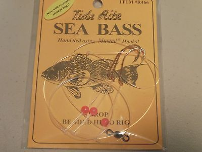 1 Sea Bass Black Tide Rite R466 3 Drop Beaded Hi-Lo Saltwater Fish Rig Mustad