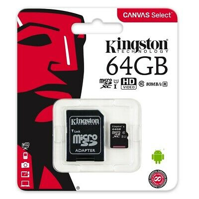 Kingston 64GB MicroSD Class 10 Speicherkarte Micro SDHC max 80MB + SD Adapter