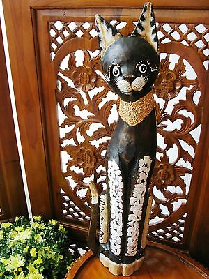 Wooden Cat Ornament 60Cm - Hand Carved And Hand Painted