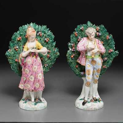 Large Pair Of Antique Porcelain Chelsea English Bocages Statues Figures Signed
