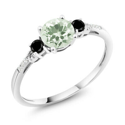 Diamond Accent 10K White Gold Green Prasiolite and Black Diamond Ring 1.13 cttw