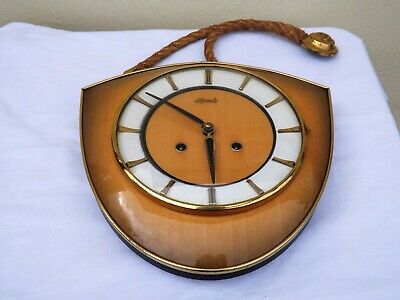 Rare Stunning Hermle Schwebeanker Vintage Chiming Rope Wall Clock Working Order