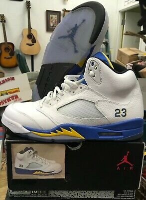 premium selection 7b93a d3c33 Men s Nike Air Jordan 5 V Retro Laney 2013 White Blue Yellow Sz 10.5 136027  189