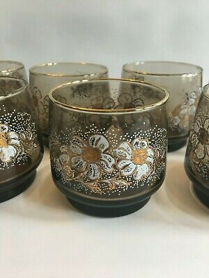 Set Of 7 Vintage Dominion Glass Floral Pattern Tumblers