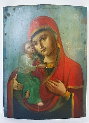Antique 19th C Russian Hand Painted Wooden Icon of the Vladimir Mother of God