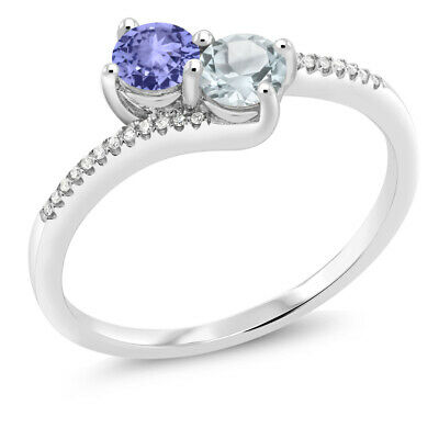 Gem Stone King 0.46 Ct Blue AAAA Tanzanite AAAA 18K Rose Gold Plated Silver Mens Solitaire Ring