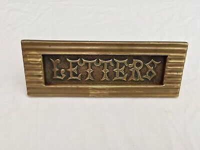 Arts & Crafts Letter Box Small Antique Victorian Reed Brass Old Vintage Salvage