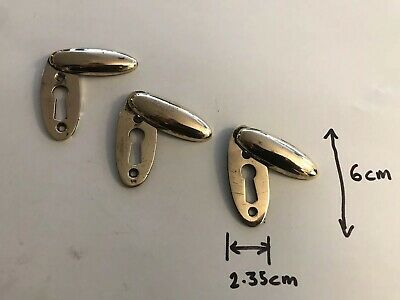 Victorian Solid Brass Door Escutcheons Key Hole cover X 3 (3163)