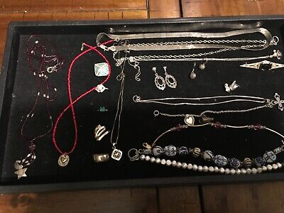 20 piece lot of sterling silver all wearable condition nice mix rings,necklaces,
