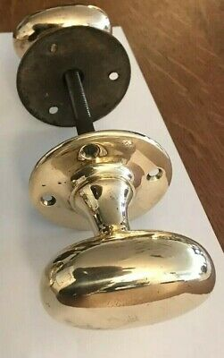 Vintage Reclaimed SolidBrass Oval Door Handles 2 Pairs Available
