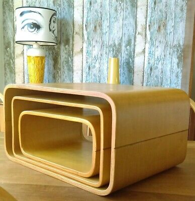 Vintage Mid Century Modern Modular Bent Plywood Nest Tables / Display Units