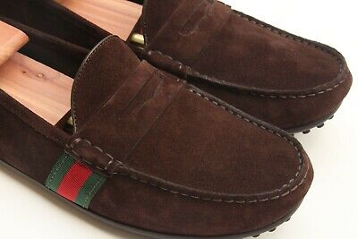 c25b37bfc GUCCI Brown Suede Driver Side Web Green Red Slip On Penny Loafers US 8/UK