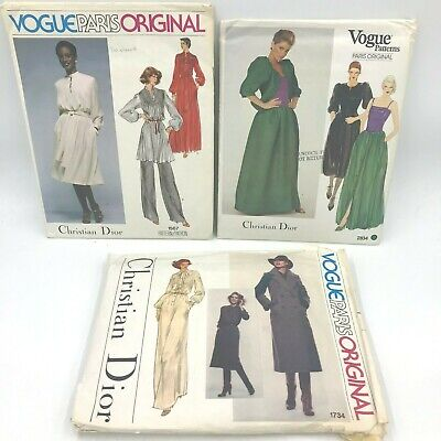 Lot 3 Vtg Vogue Paris Original Christian Dior Sewing Patterns 2834 1567 1734 PT2