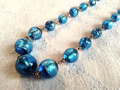 Vintage Art Deco, Electric Blue Foil Glass Bead Necklace, Stunning!!