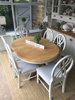 EXTENDING OVAL DINING TABLE AND 6 CHAIRS~Farrow &  Ball Painted~Shabby chic