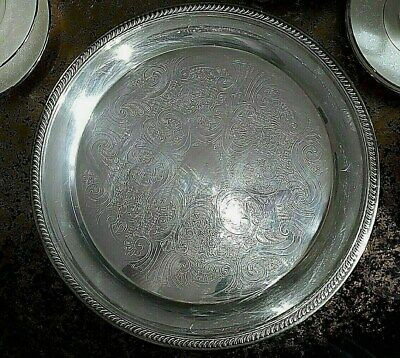 """VINTAGE F.B.ROGERS SILVER Co-USA- large silver plated tray 12 3/4"""" - excellent"""
